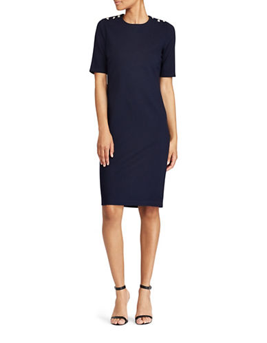 Lauren Ralph Lauren Button-Shoulder Sheath Dress-NAVY-Small