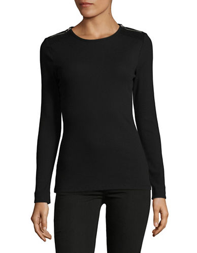 Lauren Ralph Lauren Zip-Shoulder Crew Neck Top-BLACK-Large