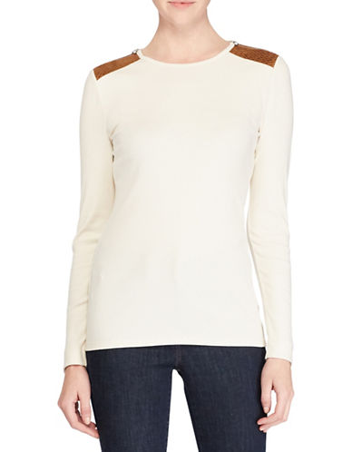 Lauren Ralph Lauren Katy Long Sleeve Knit Top-NATURAL-X-Large