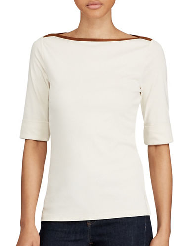 Lauren Ralph Lauren Stretch Jersey Top-NATURAL-Large