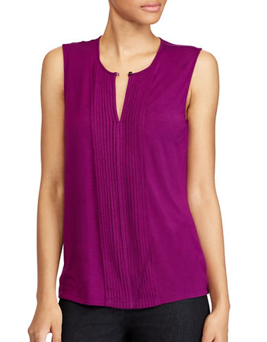 Lauren Ralph Lauren Pintucked Jersey Top-BERRY JAM-Large