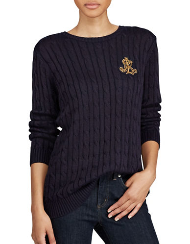 Lauren Ralph Lauren Bullion Cable-Knit Sweater-NAVY-Medium