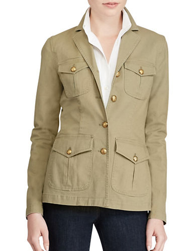 Lauren Ralph Lauren Canvas Military Jacket-GREEN-8