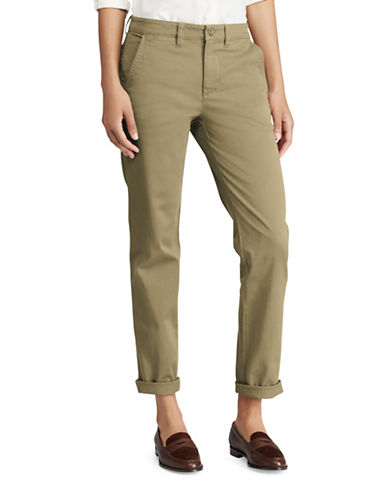 Lauren Ralph Lauren Mid-Rise Stretch Cotton Straight Pants-GREEN-12