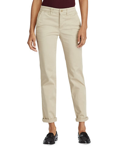 Lauren Ralph Lauren Mid-Rise Stretch Cotton Straight Pants-BEIGE-6