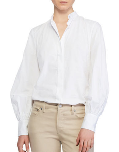 Lauren Ralph Lauren Fitzgeryld Bishop Sleeve Cotton Button-Down Shirt-WHITE-Large