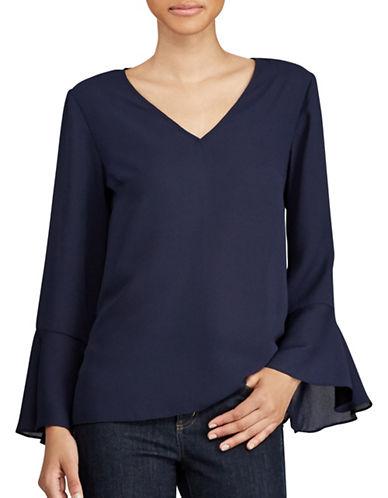 Lauren Ralph Lauren Georgette Bell Sleeve Top-NAVY-Medium
