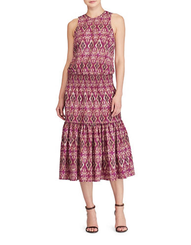 Lauren Ralph Lauren Ikat-Print Midi Dress-PINK MULTI-Large
