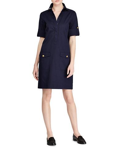 Lauren Ralph Lauren Crest-Embossed Shift Dress-NAVY-X-Large