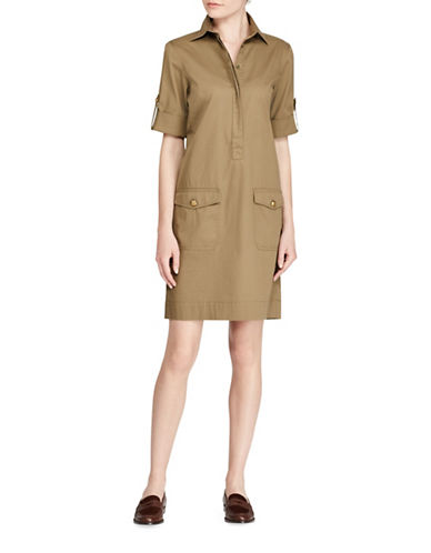 Lauren Ralph Lauren Crest-Embossed Shift Dress-GREEN-Medium