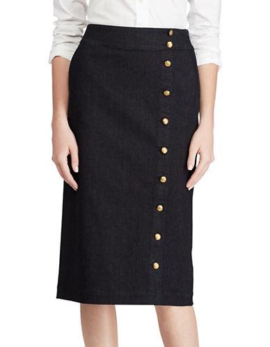 Lauren Ralph Lauren Button-Front Denim Pencil Skirt-BLUE-8