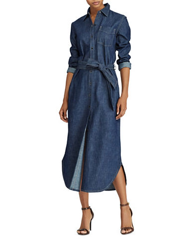 Lauren Ralph Lauren Denim Cotton Maxi Shirtdress-BLUE-4