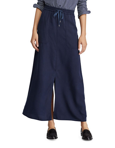 Lauren Ralph Lauren Twill Cargo Maxi Skirt-NAVY-Small