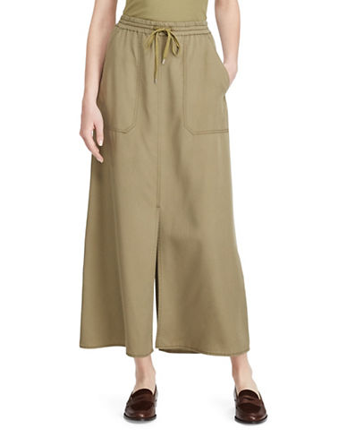 Lauren Ralph Lauren Twill Cargo Maxi Skirt-GREEN-X-Small