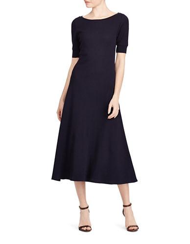Lauren Ralph Lauren Waffle-Knit Cotton Midi Dress-NAVY-Large