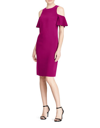 Lauren Ralph Lauren Crepe Cold Shoulder Dress-BERRY JAM-16
