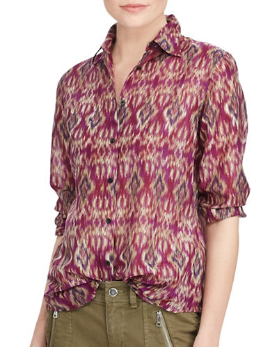 Lauren Ralph Lauren Voile Button-Down Shirt-PINK-Large