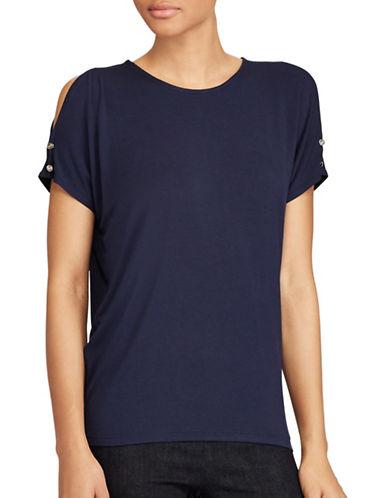 Lauren Ralph Lauren Jersey Cold Shoulder Top-BLUE-Small
