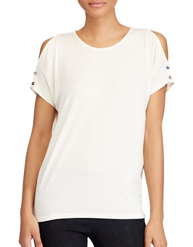 Lauren Ralph Lauren Jersey Cold Shoulder Top-NATURAL-Medium