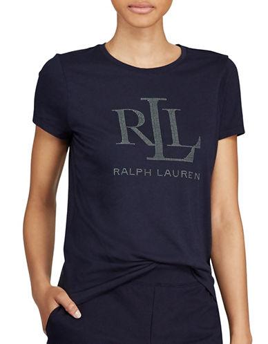 Lauren Ralph Lauren Studded Jersey Tee-BLUE-Large
