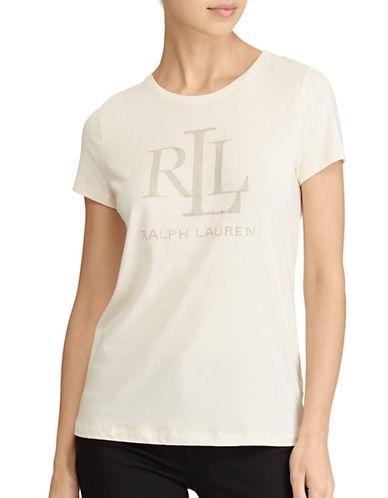 Lauren Ralph Lauren Studded Jersey Tee-NATURAL-X-Small