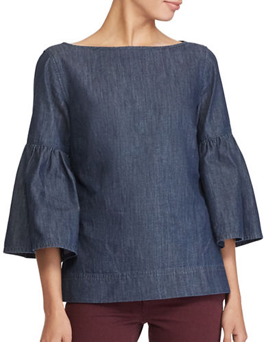 Lauren Ralph Lauren Denim Cotton Bell Sleeve Blouse-BLUE-Small