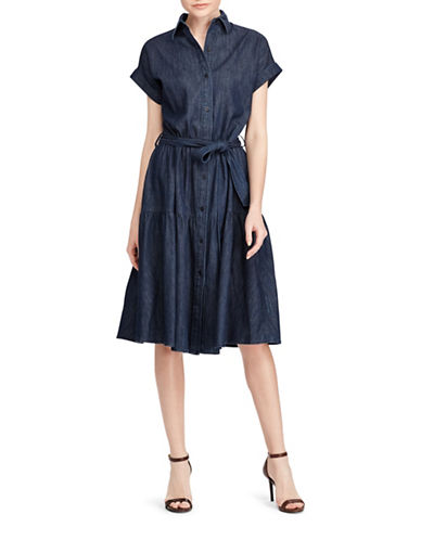 Lauren Ralph Lauren Denim Midi Cotton Shirtdress-BLUE-10
