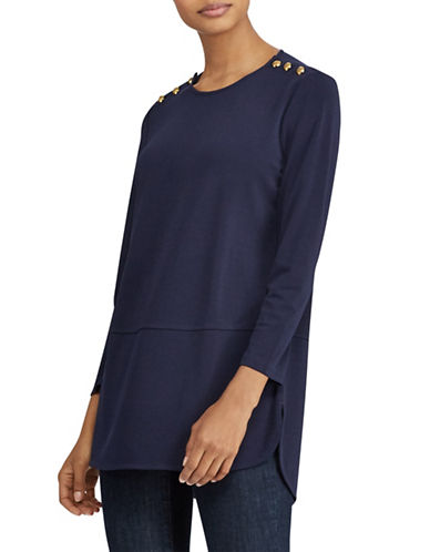 Lauren Ralph Lauren Button-Shoulder Jersey Top-BLUE-Small