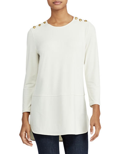 Lauren Ralph Lauren Button-Shoulder Jersey Top-NATURAL-X-Small