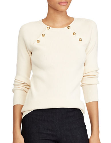 Lauren Ralph Lauren Zayne Buttoned Sweater-NATURAL-X-Large