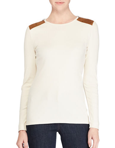 Lauren Ralph Lauren Petite Faux Suede Zip Knit Top-NATURAL-Petite Medium
