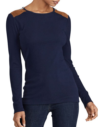 Lauren Ralph Lauren Petite Faux Suede Zip Knit Top-BLUE-Petite Small