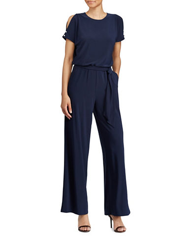 Lauren Ralph Lauren Petite Cut-out Shoulder Jersey Jumpsuit-NAVY-Petite Medium