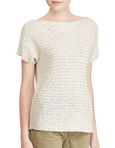 Lauren Ralph Lauren Petite Short-Sleeve Sweater-NATURAL-Petite Medium