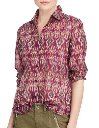 Lauren Ralph Lauren Petite Voile Button-Down Shirt-PINK-Petite Large