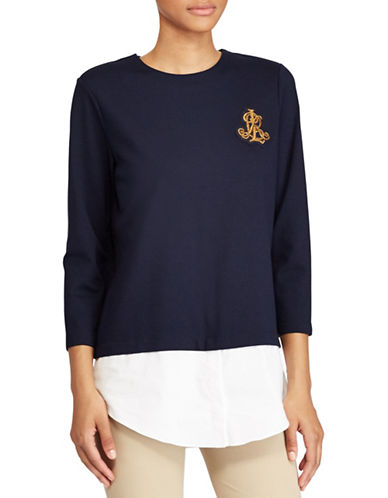 Lauren Ralph Lauren Petite Layered Bullion-Crest Top-BLUE-Petite X-Small