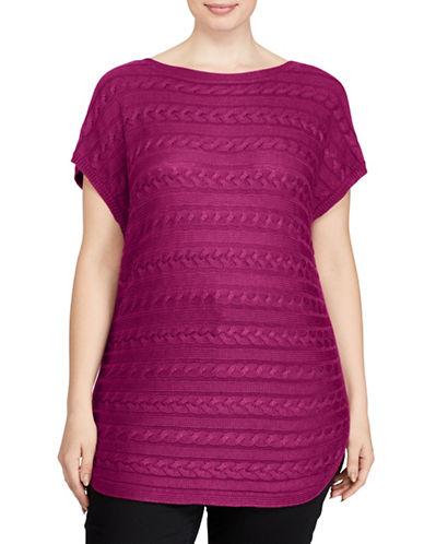 Lauren Ralph Lauren Plus Cable-Knit Short-Sleeve Sweater-BERRY JAM-2X