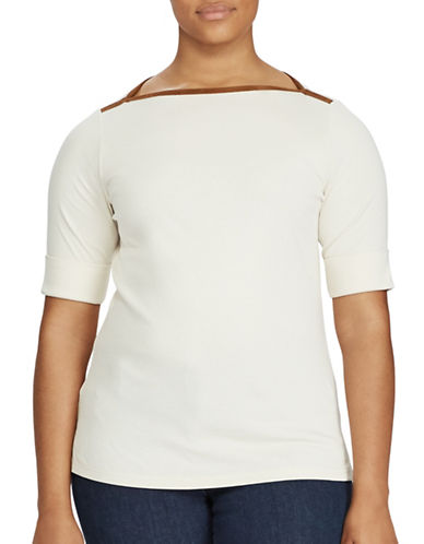 Lauren Ralph Lauren Plus Stretch Jersey Boatneck Top-NATURAL-3X