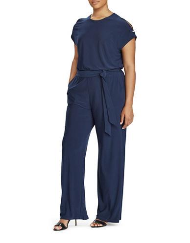 Lauren Ralph Lauren Plus Jersey Cold Shoulder Jumpsuit-BLUE-2X