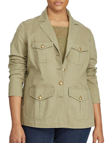 Lauren Ralph Lauren Plus Notch Lapel Military Jacket-GREEN-16W