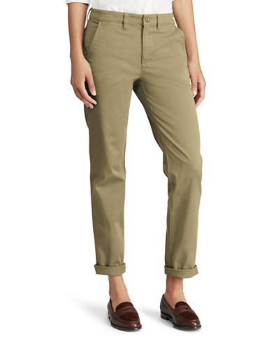 Lauren Ralph Lauren Plus Stretch Mid-Rise Straight Chino Pants-GREEN-20W