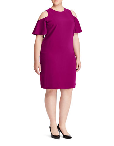 Lauren Ralph Lauren Plus Deago Crepe Cold Shoulder Dress-RED-16W