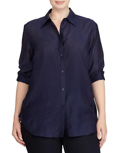 Lauren Ralph Lauren Plus Voile Button-Down Shirt-BLUE-2X