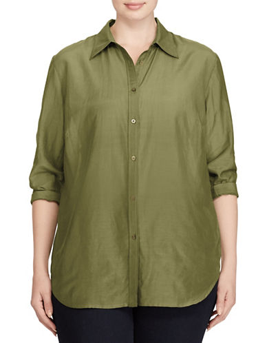 Lauren Ralph Lauren Plus Voile Button-Down Shirt-GREEN-2X