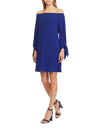 Chaps Off-the-Shoulder Jersey A-Line Dress-SKY-X-Large