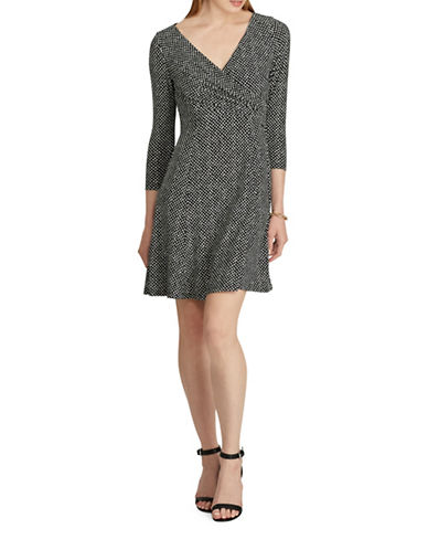 Chaps Dotted Jersey Fit-and-Flare Dress-BLACK/CREAM-Large