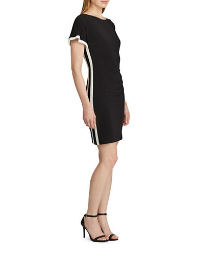 Chaps Two-Tone Jersey Sheath Dress-BLACK/CREAM-X-Large