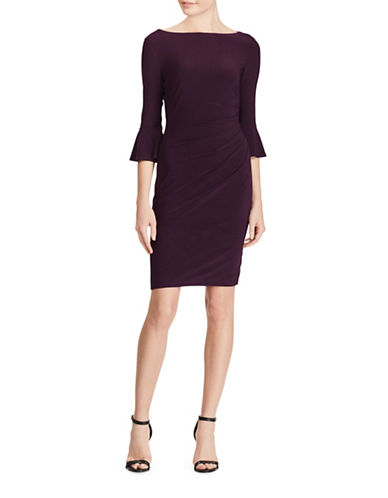 Chaps Jersey Bell-Sleeve Dress-AUBERGINE-X-Large