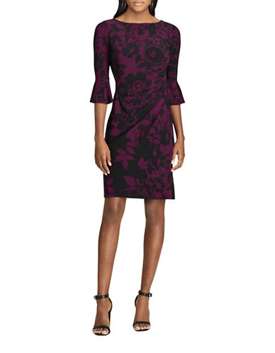 Chaps Floral Bell-Sleeve Sheath Dress-BLACK/MARS-X-Large