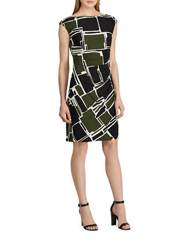 Chaps Geometric Jersey Sheath Dress-GREEN/MULTI-X-Small